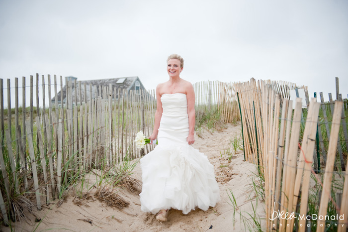 Brea McDonald nantucket wedding photographer wedding shot at the wahwinet working with soiree floral bridal portrait on the beach