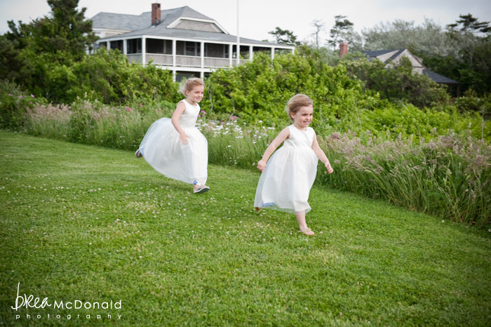 Brea McDonald nantucket wedding photographer wedding shot at the wahwinet working with soiree floral flower girls