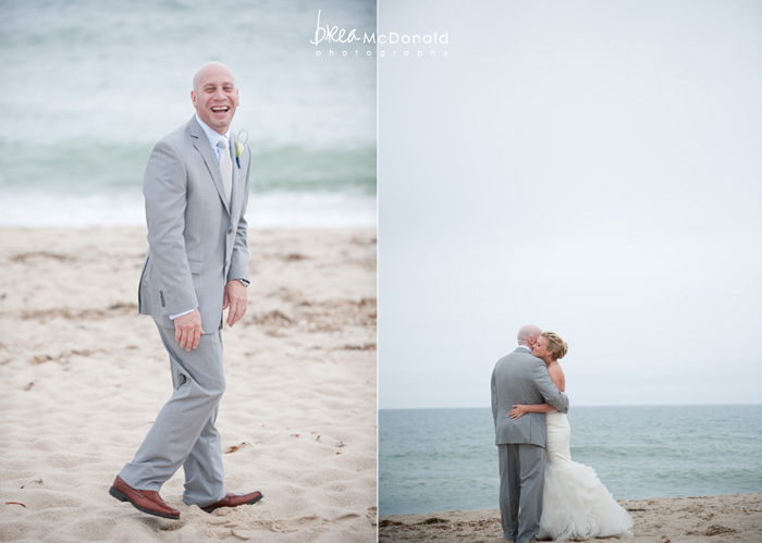 Brea McDonald nantucket wedding photographer wedding shot at the wahwinet working with soiree floral groom and bride portrait on the beach