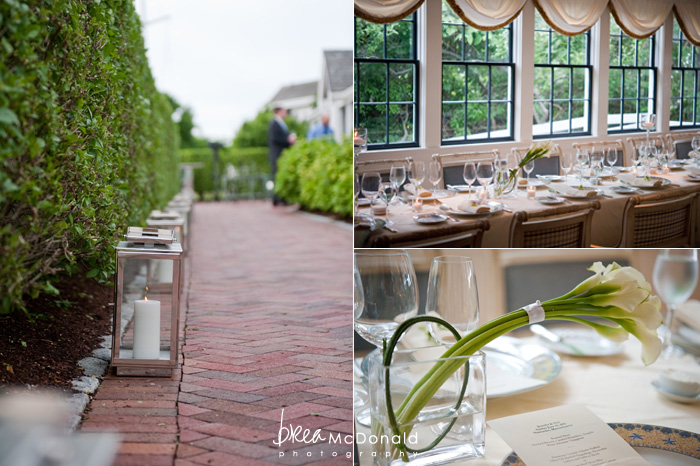 Brea McDonald nantucket wedding photographer wedding shot at the wahwinet working with soiree floral wedding day details