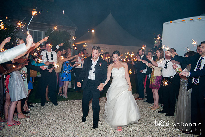 nantucket wedding, sparkler send off, brea mcdonald photography