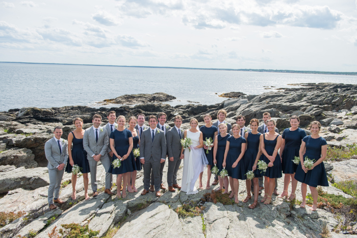 Navy and Grey Bridal Party Maine Wedding