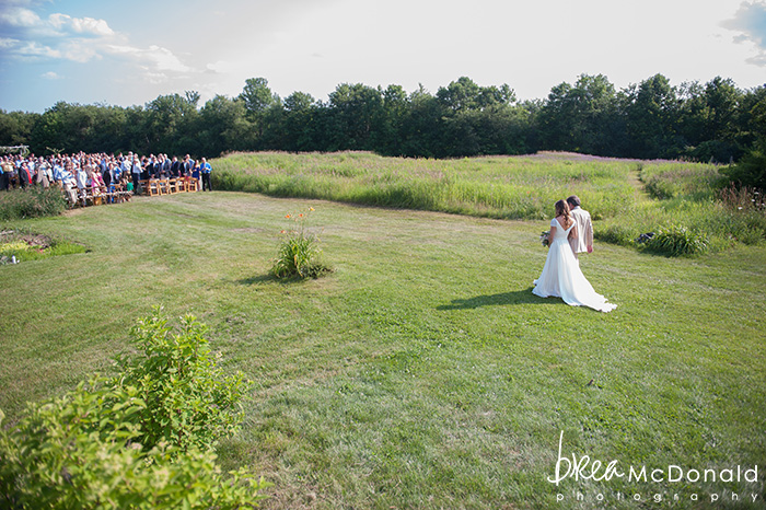 wedding at shady lane farm in new gloucester maine with wedding photographer brea mcdonald of brea mcdonald photography outdoor ceremony on a farm barn wedding reception